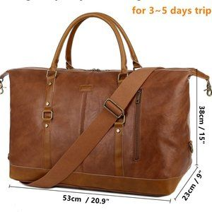 NEW Lucacci Leather Travel Duffel Tote Bag